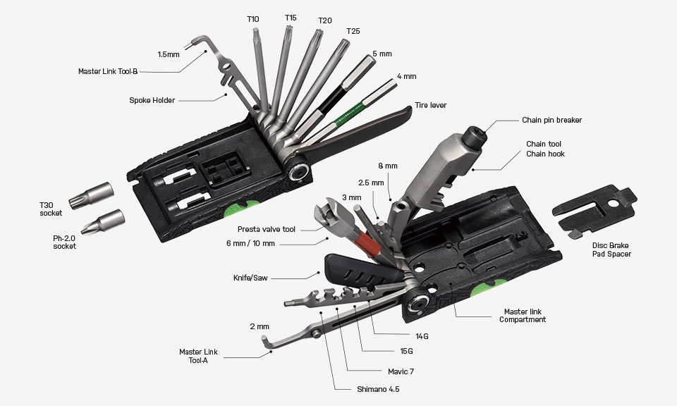 Topeak Alien X Multi-Tool with 38 Vanadium Steel Tools//Functions Black